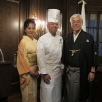 Sumio Kusaka, Consulate General of Japan in New York, with his wife and Koji Hagihara, executive chef of Hakata Tonton in New York