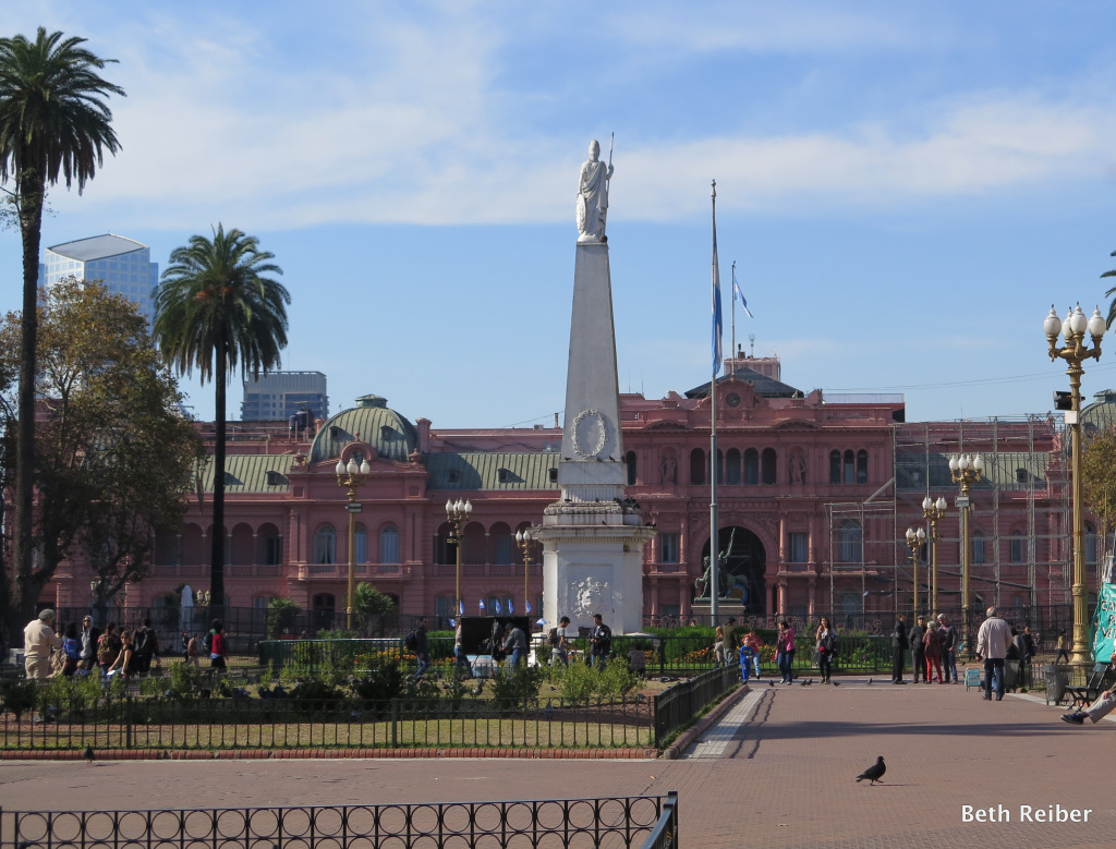 The Plaza de Mayo with its Casa Rosada government house.