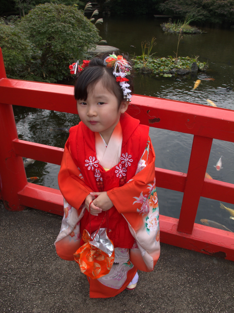 Young girl in New Otani Hotel's garden