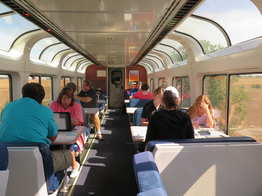 The observation car on the Southwest Chief