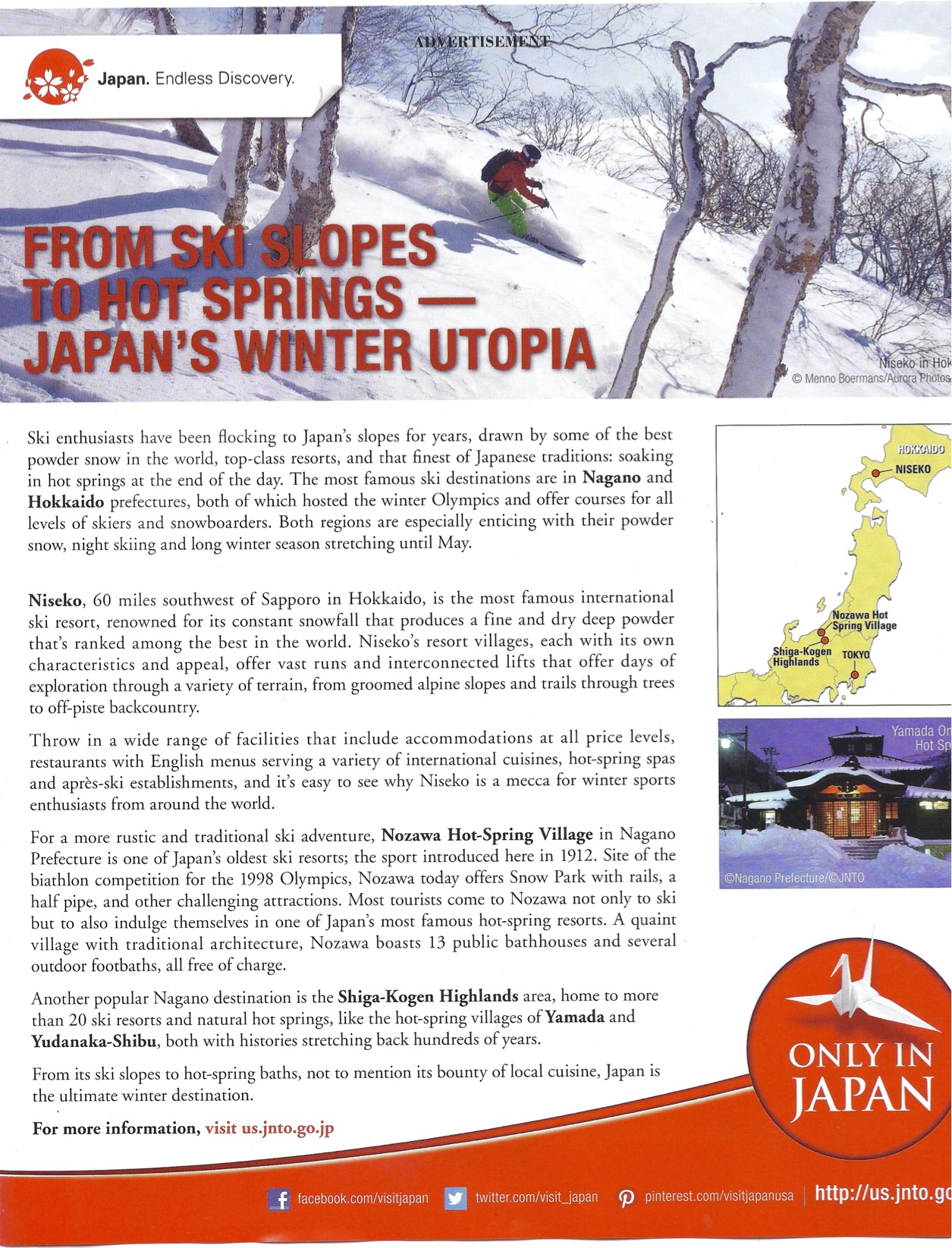 Advertisement in Conde Nast Travler, November 2015